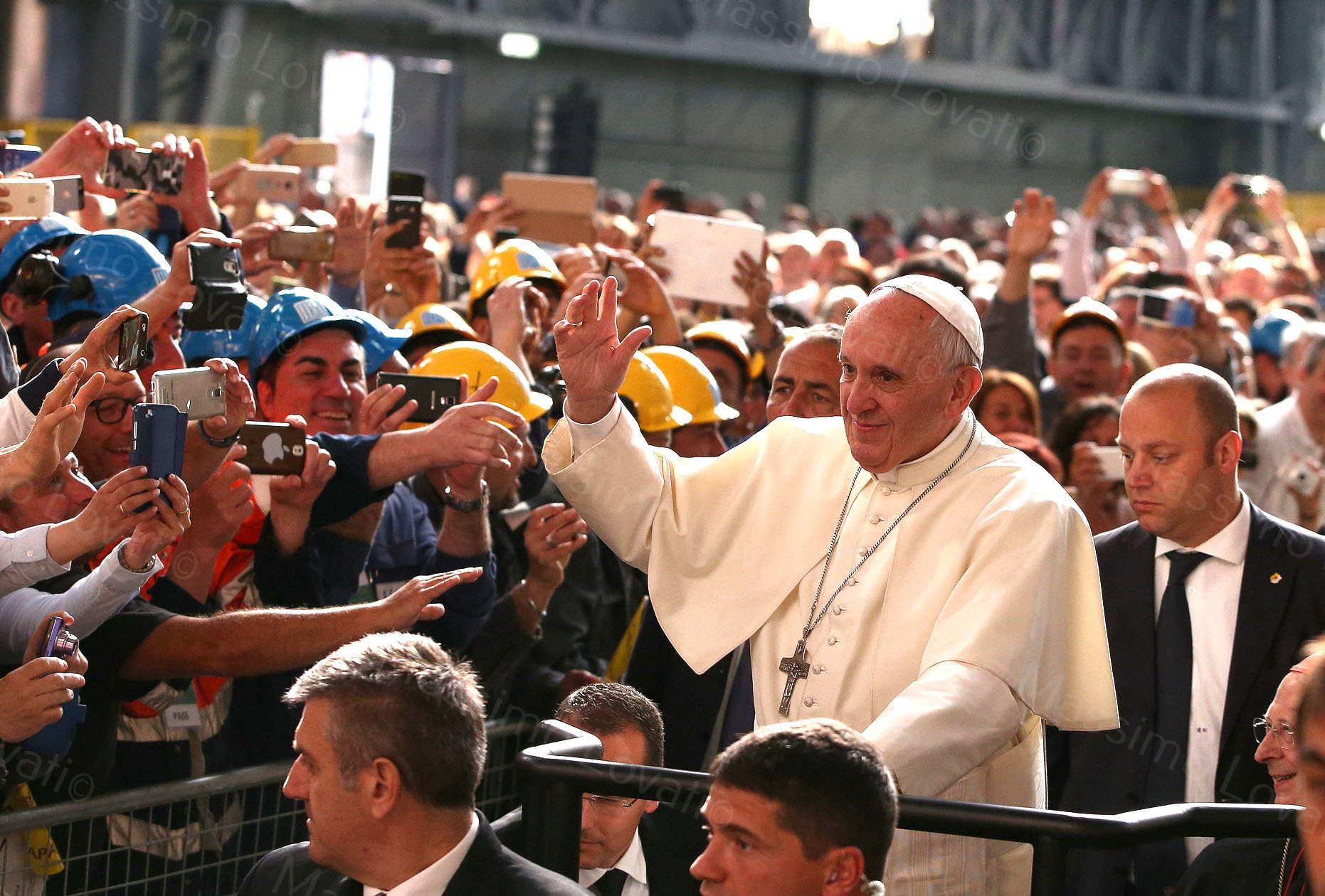 Visita pastorale di Papa Francesco, stabilimento ILVA Cornigliano (GE)