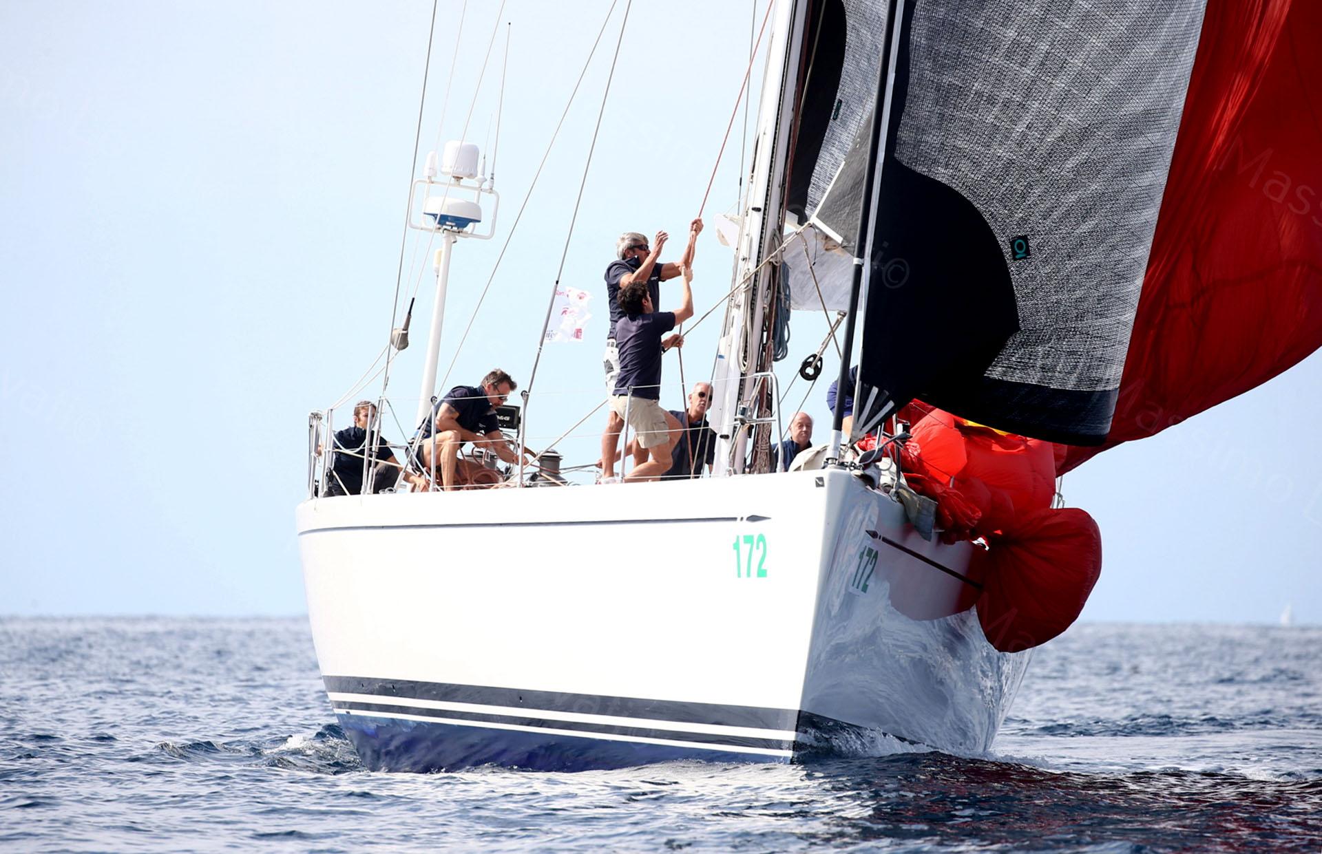 23/09/2017 Genova, Regata Millevele,nella foto manovra alle vele in prua