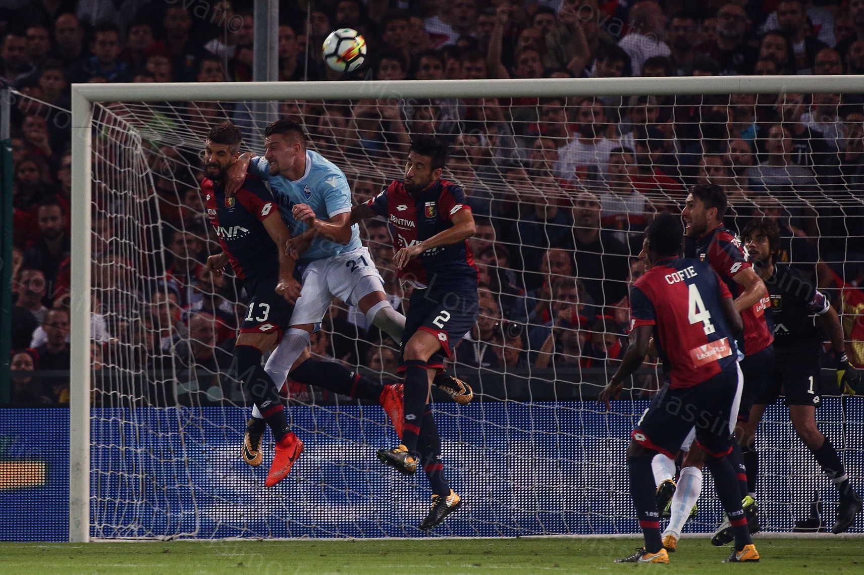 Genoa - Lazio 2017/2018, Rossettini, Milink e Spolli in volo
