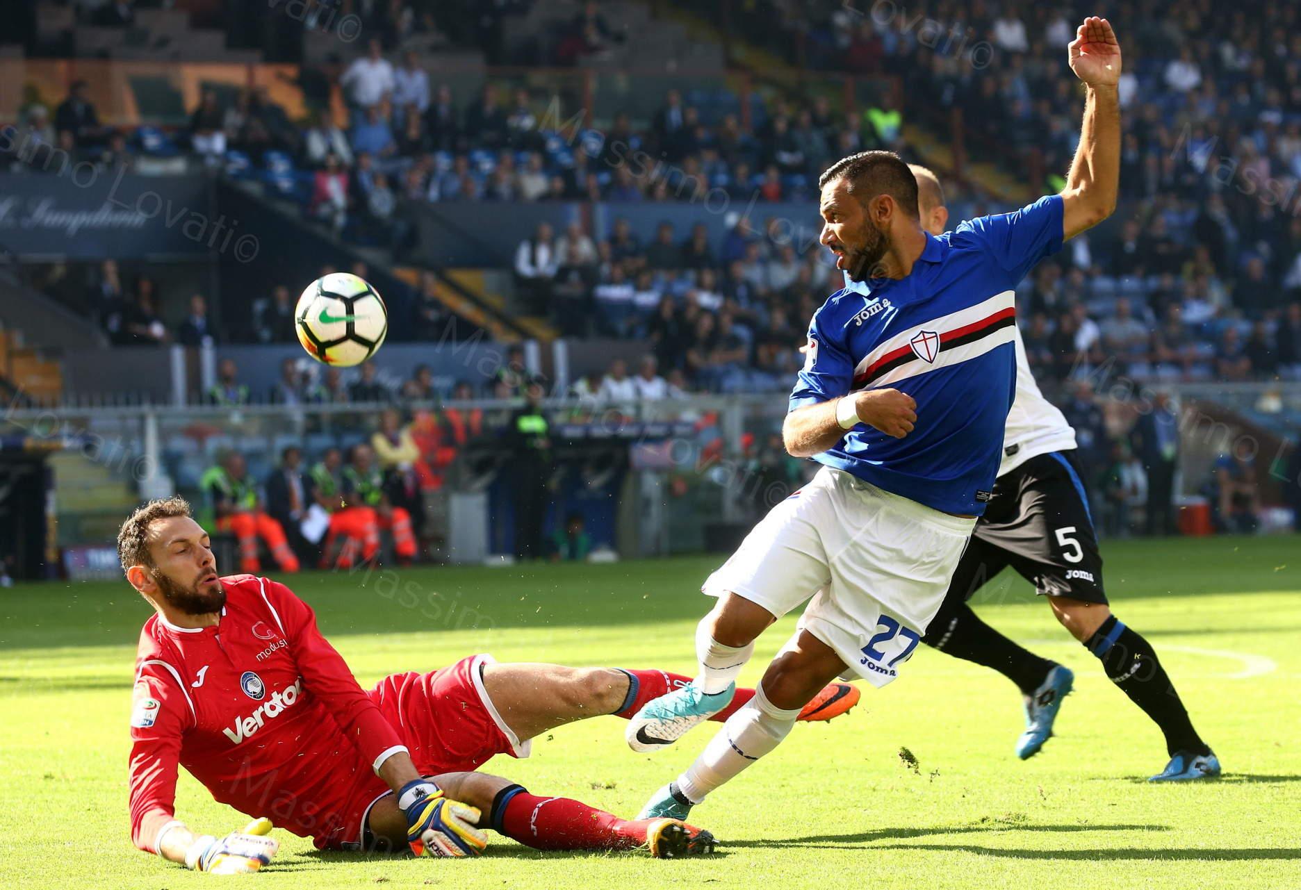 15/10/2017 Genova Campionato di Calcio Serie A, Sampdoria- Atalanta, nella foto Berisha e Quagliarella