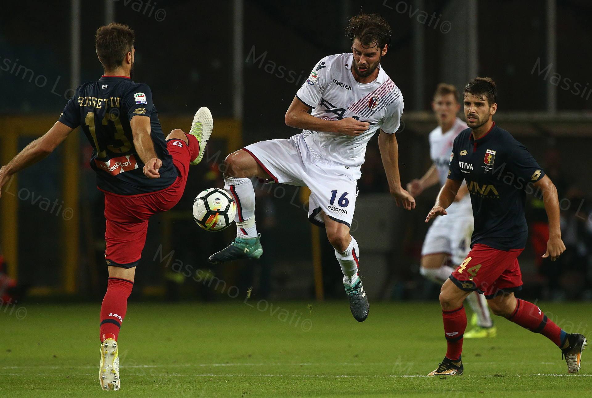 30/09/2017, Genova , Campionato di Calcio Serie A, Genoa- Bologna , nella foto Poli in volo contende la palla a Rosellini