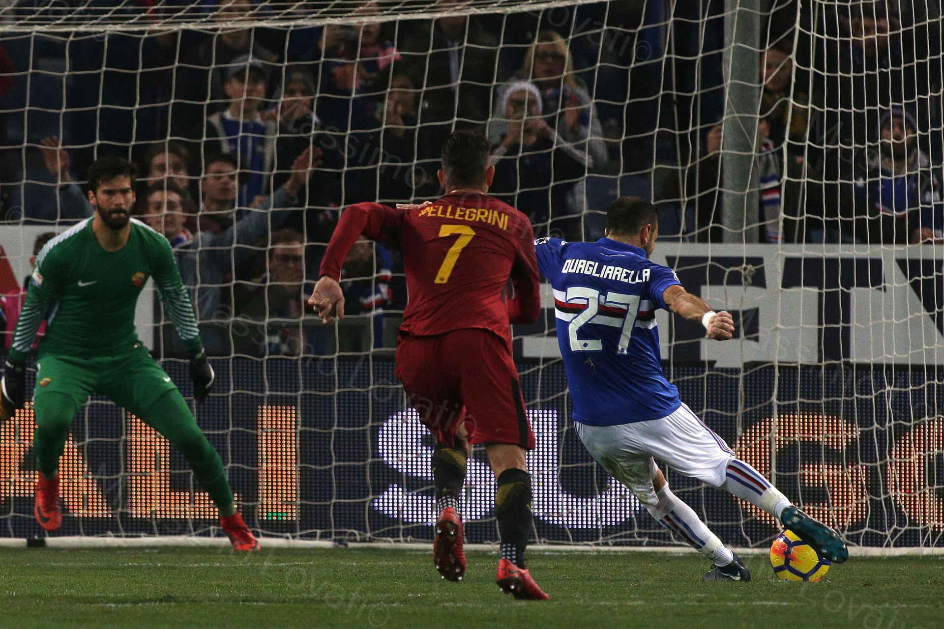 24/01/2018, Genova, Campionato di Calcio di Serie A, Sampdoria-Roma, nella foto Quagliarella goal su rigore