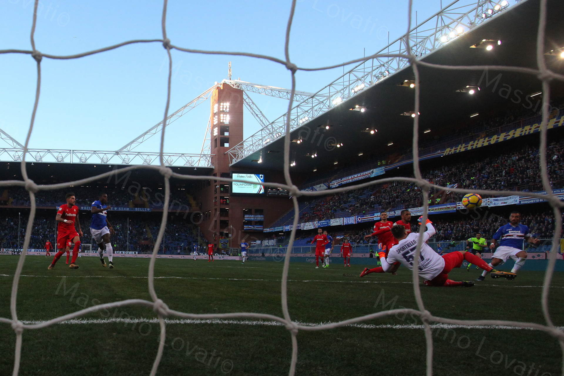 21/01/2018 Genova , Campionato di Calcio Serie A, Sampdoria - Fiorentina, nella foto Quagliarella segna il secondo goal