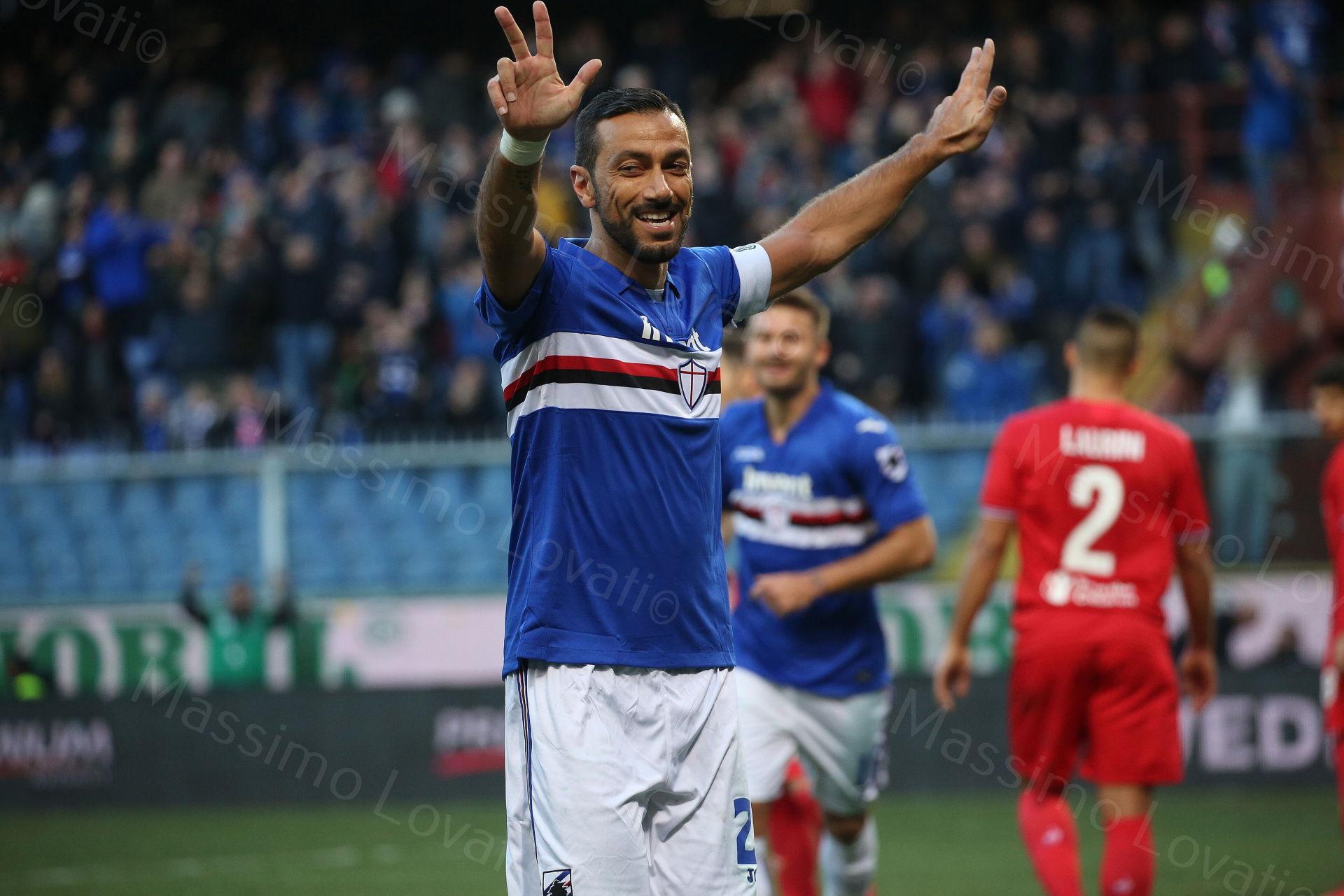 21/01/2018 Genova , Campionato di Calcio Serie A, Sampdoria - Fiorentina, nella foto Quagliarella esulta dopo il terzo goal