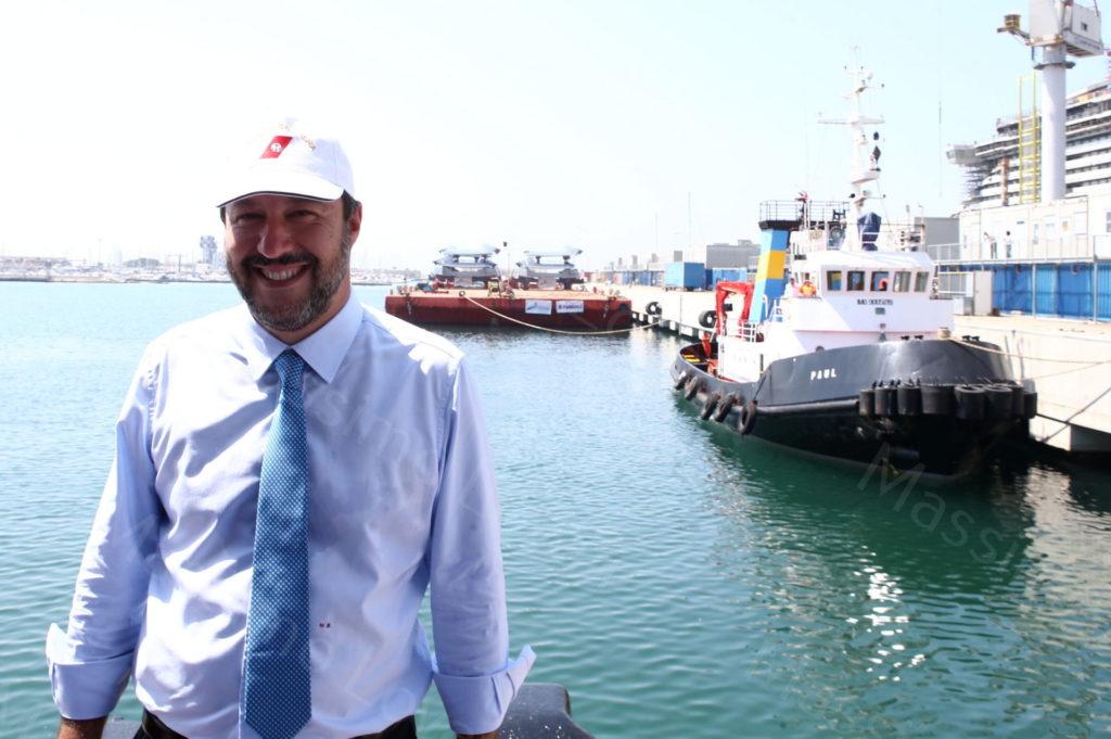 28/06/2019, Genova, Il Vicepremier Matteo Salvini in visita allo stabilimento Fincantieri di Sestri  Ponente ricevuto dall'Amm. Delegato Giuseppe Bono