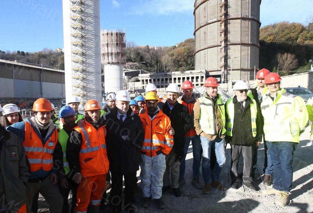 24/12/2019, Genova, Sopralluogo dei Commissari Marco Bucci e Giovanni Toti nel cantiere del nuovo ponte in costruzione sul Polcevera
