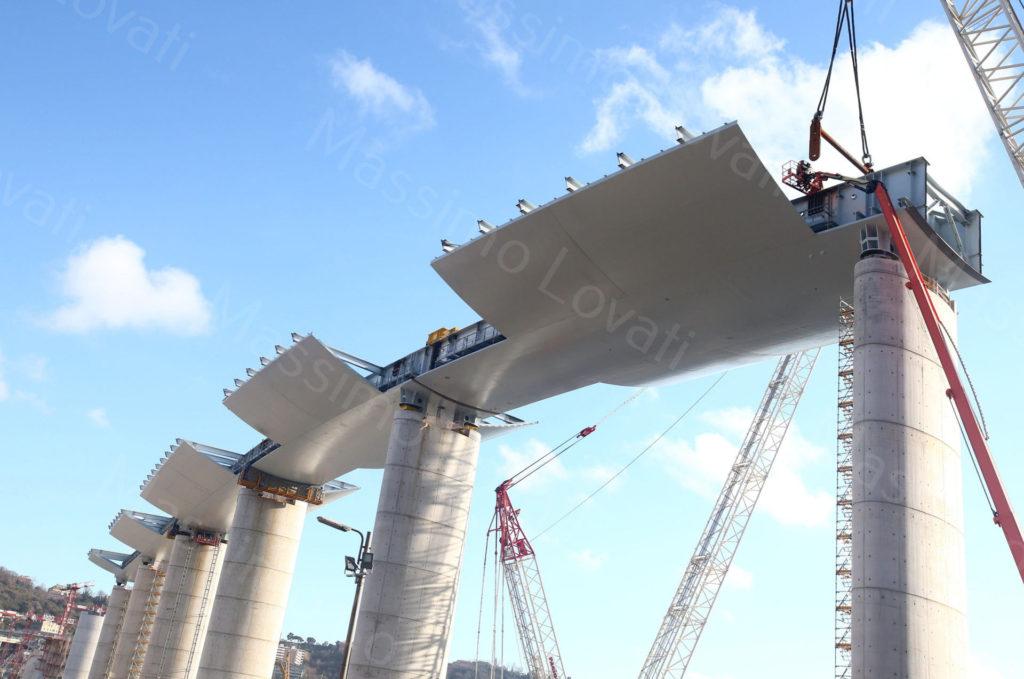 09/01/2020, Genova, Cantiere del Nuovo Ponte sul Polcevera, sesto Impalcato varato