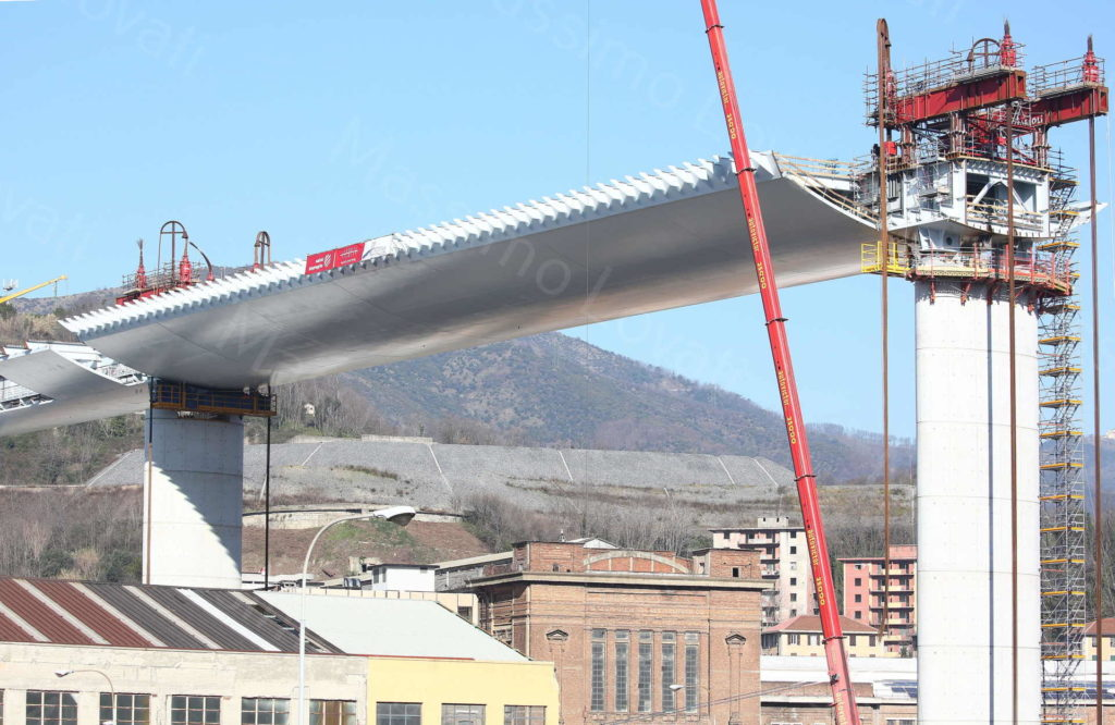 14/02/2020 Genova, Cantiere del nuovo ponte sul Polcevera, Campata tra pile 8 e 9 e altre campate e pile