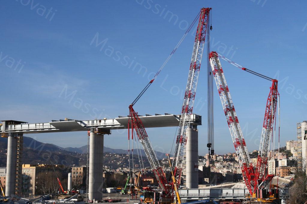 15/02/2020, Genova, Cantiere del nuovo ponte sul Polcevera, Impalcato a terra tra pile 16 e 17 pronto per essere issato in quota