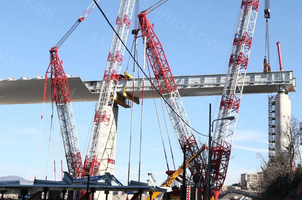 15/02/2020, Genova, Cantiere del nuovo Ponte sul Polcevera, issato impalcato tra pile 16 e 17