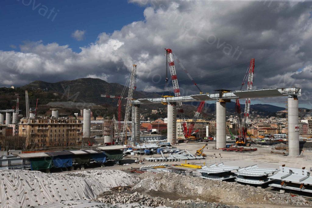 07/02/2020, Genova, Cantiere del nuovo Ponte sul Polcevera, varo dell' impalcato tra le  pile 13 e 14