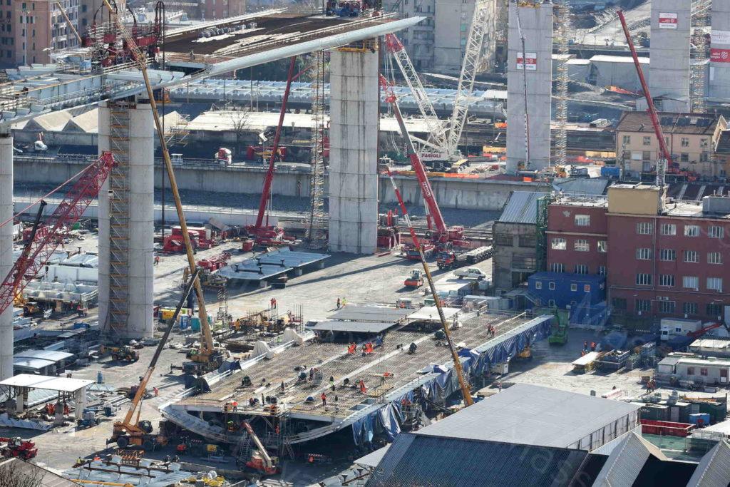 03/03/2020, Genova , Cantiere del nuovo ponte di Genova, la Campata di 100 m. che verrà portata in quota tra pile 9 e 10