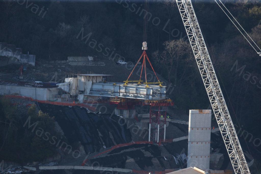 06/03/2020, Genova, Cantiere del nuovo ponte sul Polcevera e varo del concio sulla spalla di ponente