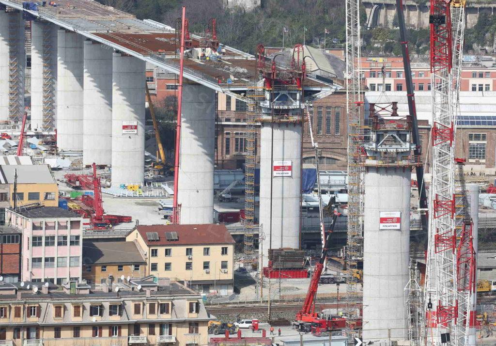 17/03/2020, Genova, Cantiere del nuovo ponte sul Polcevera, il concio sulla pila 11