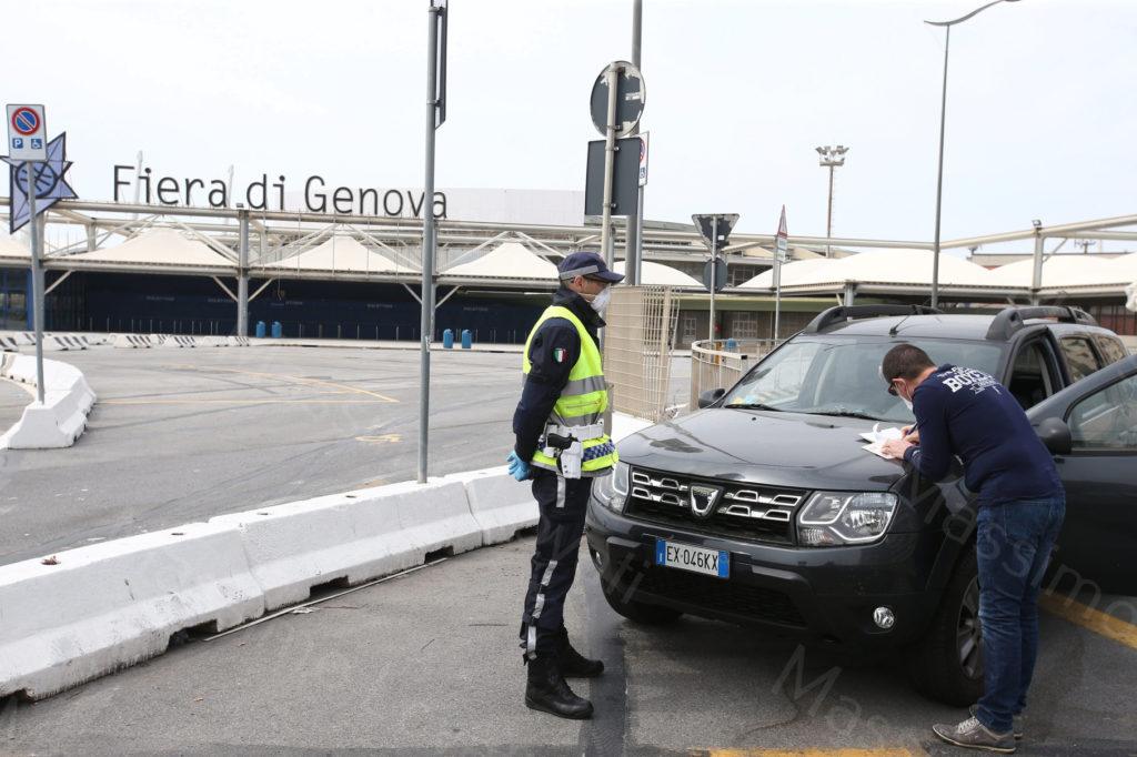 13/04/2020, Genova, Controlli di Pasquetta della Polizia Locale in zona Fiera