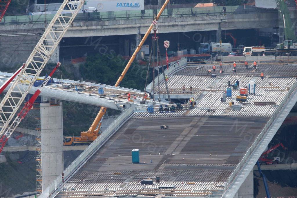 27/05/2020, Genova, Varo del raccordo del nuovo ponte sul Polcevera con rampa di svincolo della A7