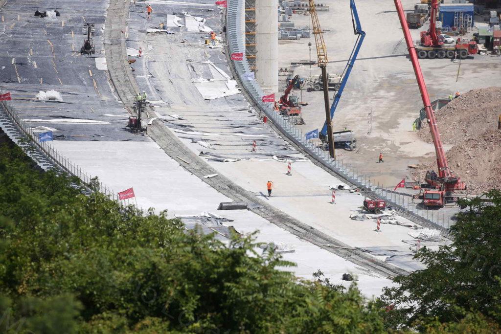 15/06/2020, Genova, Work in Progress dei lavori sugli impalcati del nuovo ponte sul Polcevera