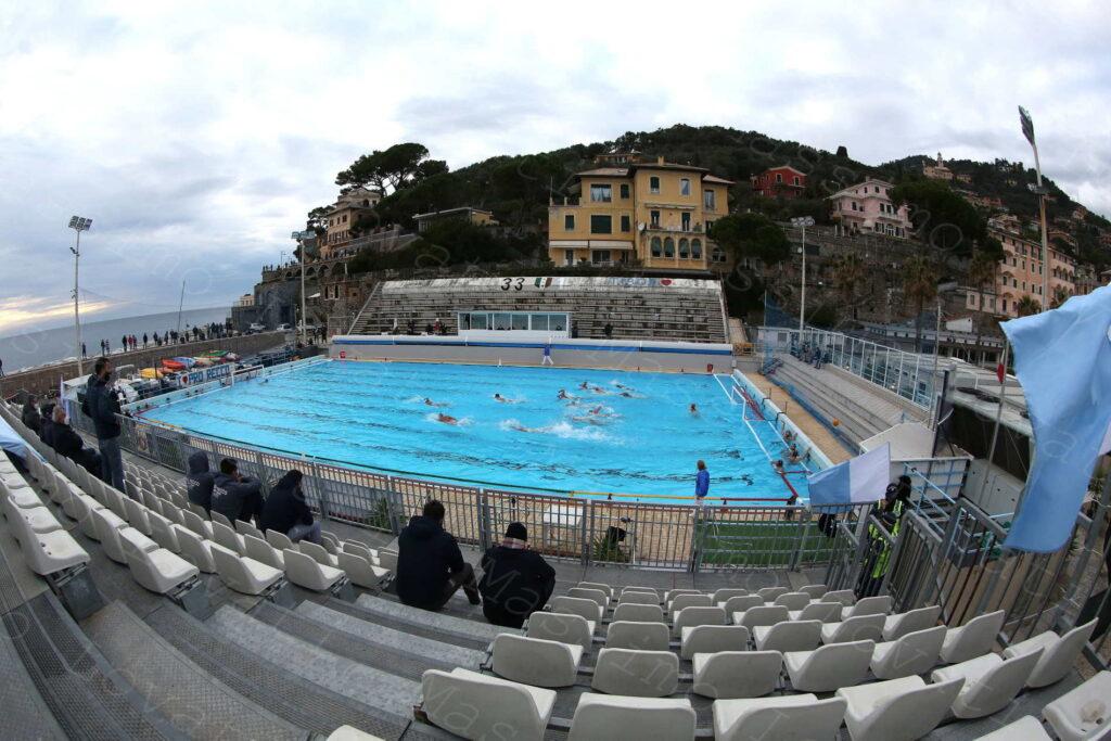 La Pro Recco vs RN Salerno nella Piscina all'aperto Antonio Ferro di Punta S. Anna di Recco