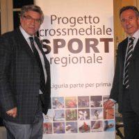 14 04 2009 con Presidente CONI Liguria alla presentazione Progetto Crossmediale di Primo Canale con mie fotografie