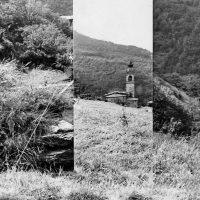1977 Monteghirfo Installazione pannello con fotografie e specchio il paesaggio fotografato occultato, riflesso,