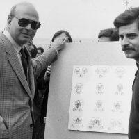 1982 Genova Mostra Garibaldi vis a vis se guardante precario doppio Inaugurazione con Bettino Craxi