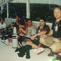1991 Perth a bordo Piscina con altri fotografi durante i Mondiali di Nuoto