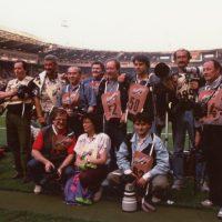 20 Maggio 1992 Londra, Wembley Stadium Finale Coppa Campioni 1991-1992 tra Sampdoria e Barcellona, con gli altri fotografi Italiani
