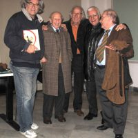 2009 Genova, con il critico Germano Beringheli, gli artisti Raimondo Sirotti, Guido Ziveri e Franco Sborgi