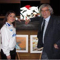 """2010 con Paola Fraschini con """"Arte e Sport"""" mio modulo luminoso."""
