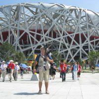 """2008 Olimpiadi di Beijing difronte a stadio """"Nido d'Uccello"""""""