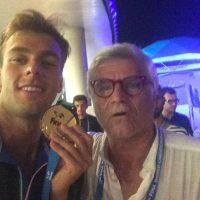 2017 Mondiali FINA Budapest io con Gregorio Paltrinieri a Casa Arena con la medaglia d'oro